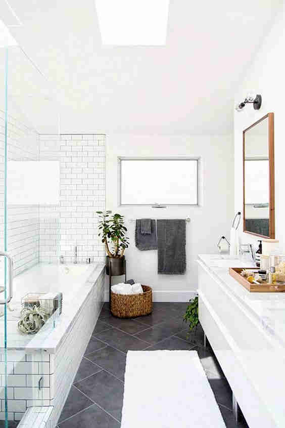 Older style bathroom updated with new vanity