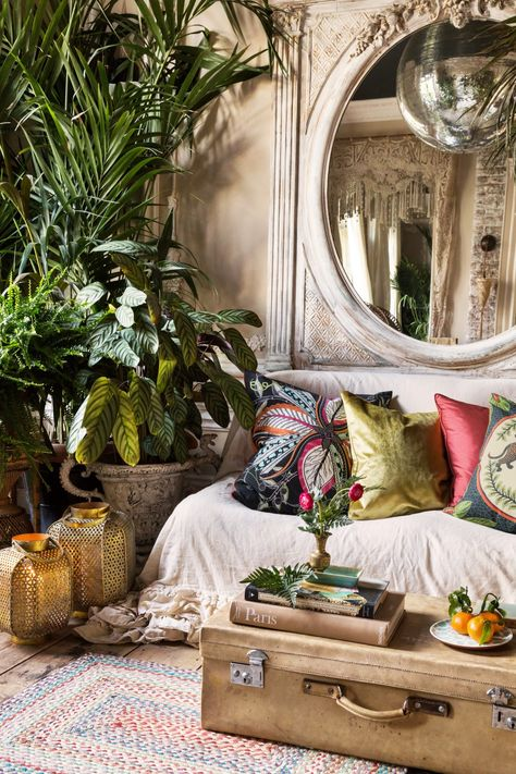 Boho-chic lounge room. Silk cushions on sofa, antique suitcase as coffee table, large plant and coloured rug.